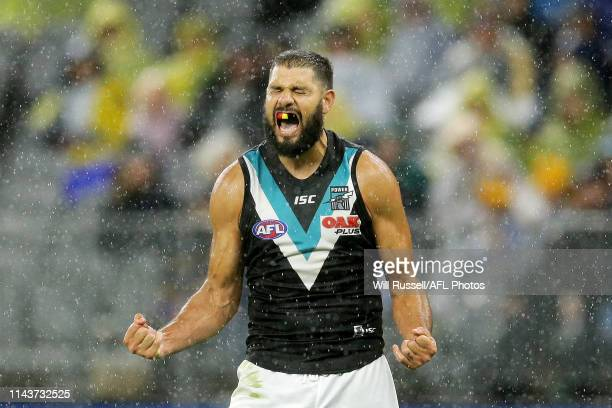 Paddy Ryder of the Power celebrates after scoring a goal during the round 5 AFL match between West Coast and Port Adelaide at Optus Stadium on April...
