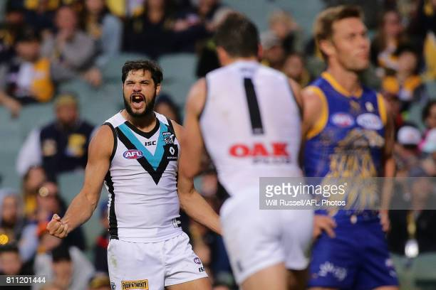 Paddy Ryder of the Power celebrates after scoring a goal during the round 16 AFL match between the West Coast Eagles and the Port Adelaide Power at...