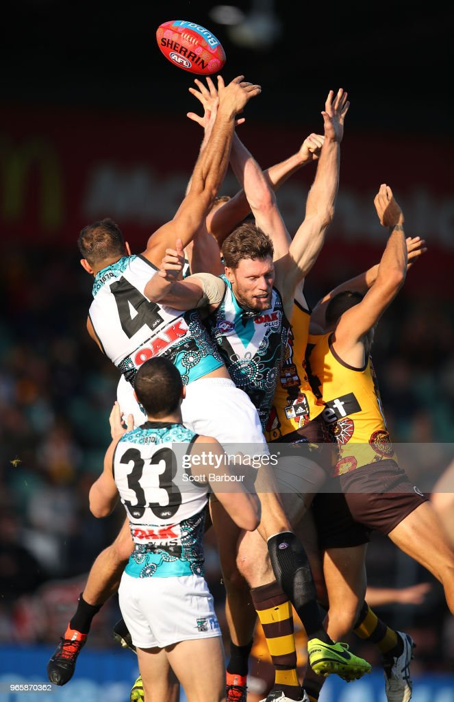 Paddy Ryder of the Power competes for the ball during the round 11 AFL match between the Hawthorn Hawks and the Port Adelaide Power at University of Tasmania Stadium on June 2, 2018 in Launceston, Australia.