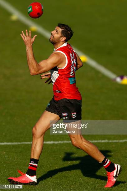 Paddy Ryder of the Saints marks the ball during a St Kilda Saints AFL training session at RSEA Park on June 03, 2021 in Melbourne, Australia.