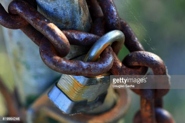 Padlock and Chain on a fence