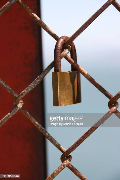 Padlock hanging on chainlink fence