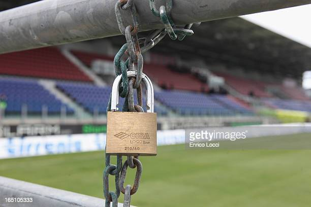 Padlock is shown at the stadium ahead of the Serie A match between Cagliari Calcio and ACF Fiorentina at Stadio Sant'Elia which will be played behind...