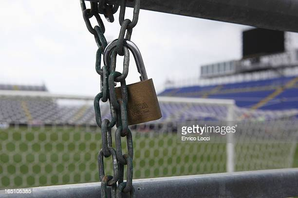 A padlock is shown at the stadium ahead of the Serie A match between Cagliari Calcio and ACF Fiorentina at Stadio Sant'Elia which will be played...