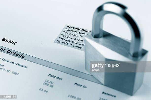 padlock on bank statement - bank statement stock pictures, royalty-free photos & images