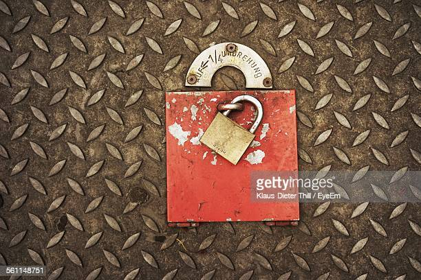 Padlock On Diamond Plated Metal