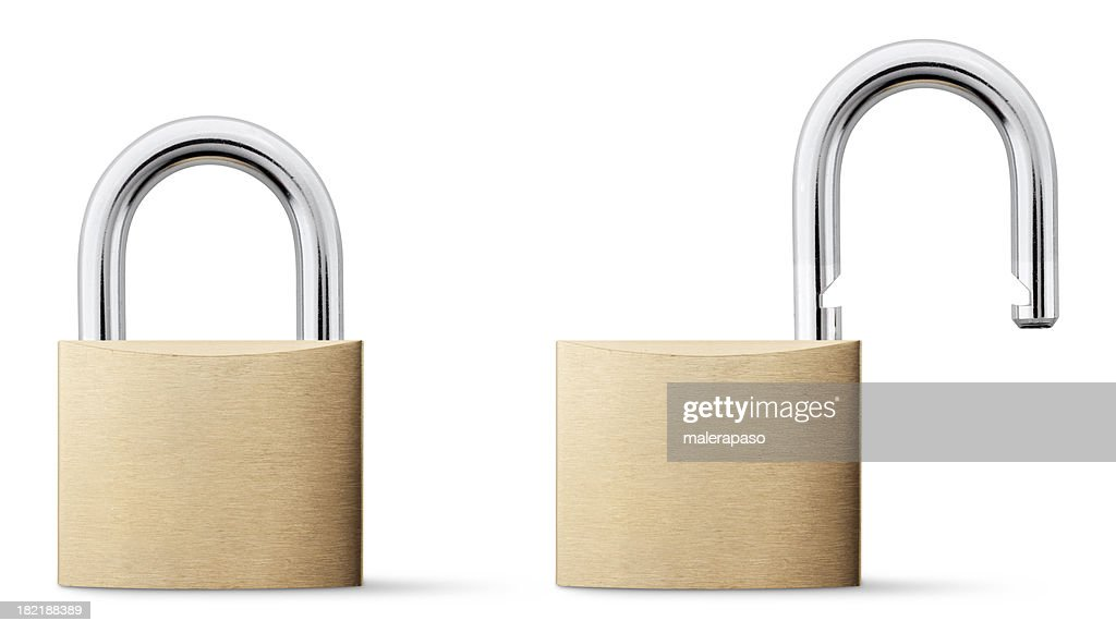 Padlock open and closed. : Stock Photo