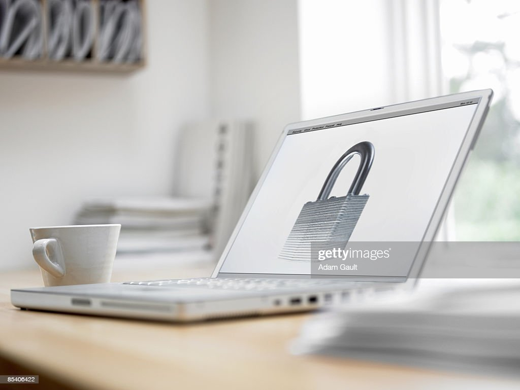 Padlock picture on laptop screen : Stock Photo