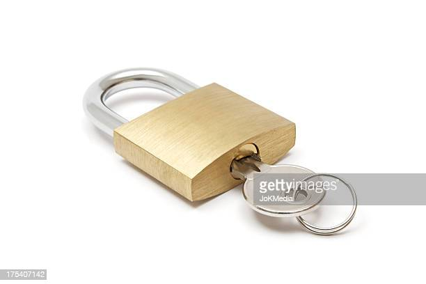 padlock with key - padlock stock photos and pictures
