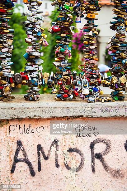 Padlocks as symbols of eternal love on the bridge over the Certovka Canal in Mala Strana in Prague