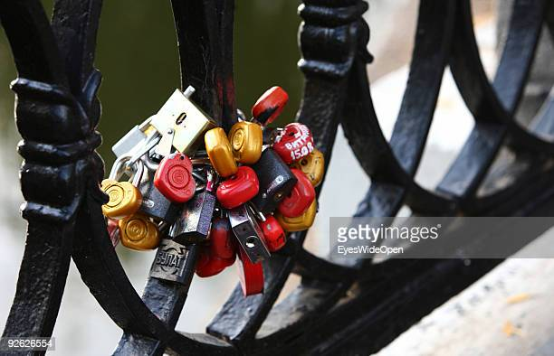 Padlocks at a bridge in the Park at the new monastery of the Virgins on October 14 2009 in Moscow Russia The locks are said and believed to bring...