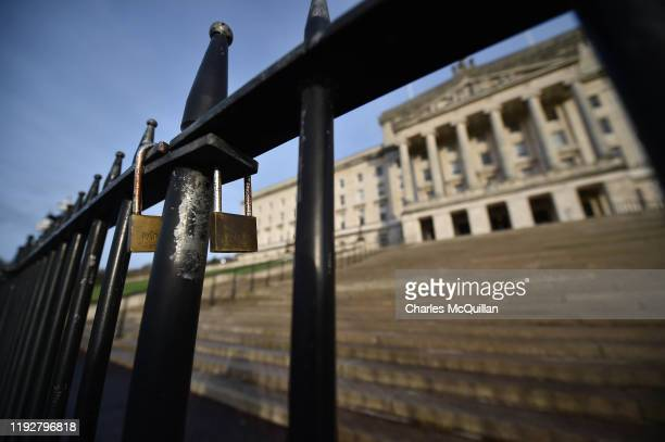 Padlocks can be seen on the steps of Stormont on January 10 2020 in Belfast Northern Ireland It is three years since the power sharing executive...