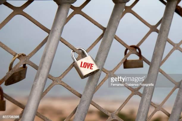 Padlocks of lovers on a bridge