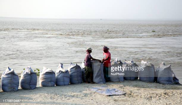 Padma erosion takes a serious turn along the stretch of its bank near Daulatdia ferry terminal in Rajshahi Bangladesh on 12 October 2019 At least 350...