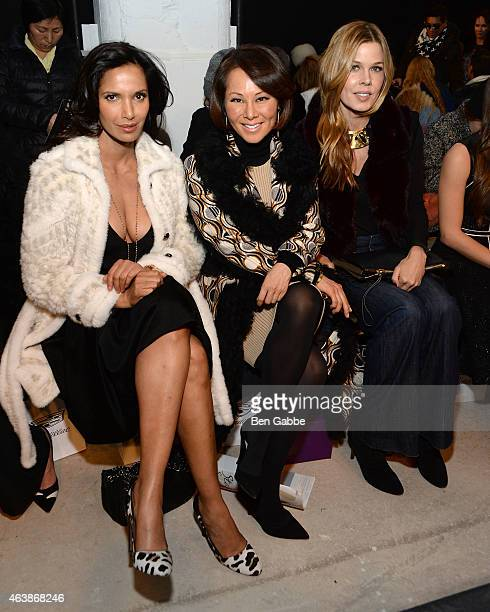 Padma Lakshmi Alina Cho and Mary Alice Stephenson attend the J Mendel fashion show during MercedesBenz Fashion Week Fall 2015 on February 19 2015 in...