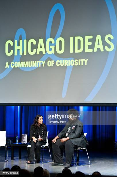 Padma Lakshmi and Ahmir Khalib Thompson aka Questlove attends food For Thought At Chicago Ideas 2016 at Venue SIX10 on April 20 2016 in Chicago...