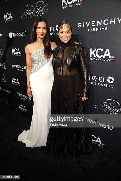 Padma Lakshmi and Alicia Keys attend Keep A Child Alive's 12th Annual Black Ball at Hammerstein Ballroom on November 5, 2015 in New York City.