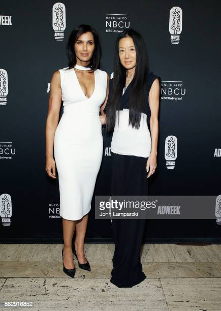 Padma Lakshmi and fashion designer Vera Wang attend 28th Annual Adweek Brand Genius Gala at Cipriani 25 Broadway on October 18 2017 in New York City