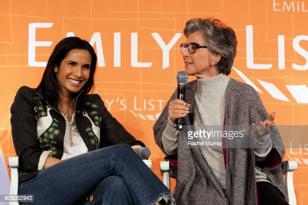 Padma Lakshmi and Former US Senator Barbara Boxer speak onstage at EMILY's List's Resist Run Win PreOscars Brunch on February 27 2018 in Los Angeles...