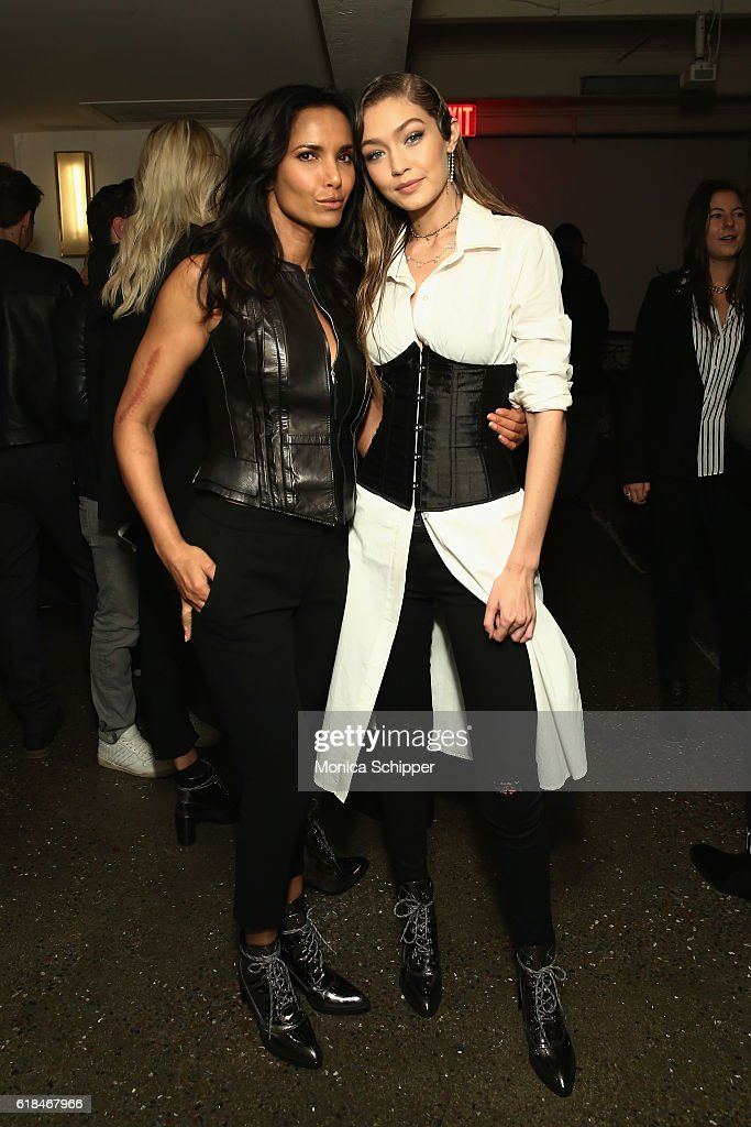 Padma Lakshmi and Gigi Hadid attend Stuart Weitzman's Launch Of The Gigi Boot on October 26, 2016 in New York City.
