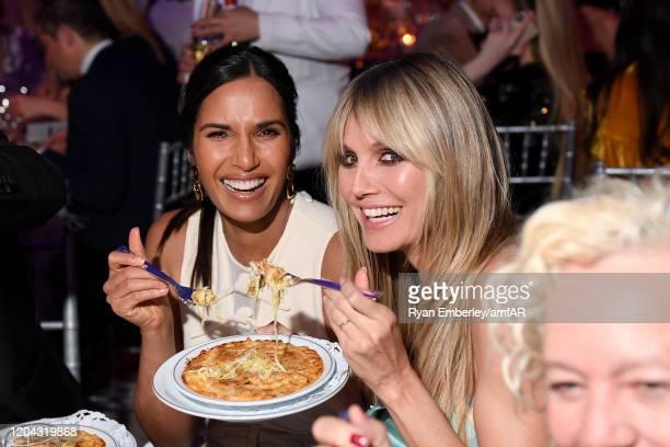 Padma Lakshmi and Heidi Klum attend the 2020 amfAR New York Gala at Cipriani Wall Street on February 05 2020 in New York City