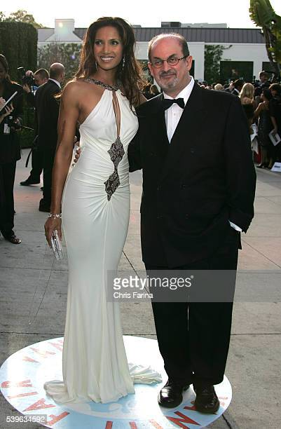 Padma Lakshmi and husband author Salman Rushdie arrive at the Vanity Fair Academy Awards® party at Mortons restaurant