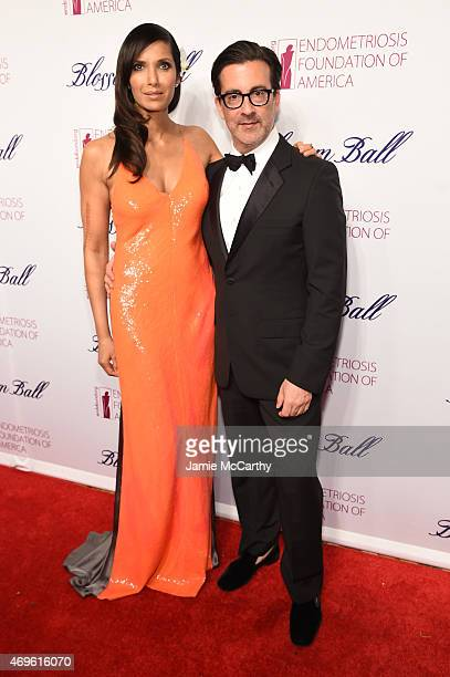 Padma Lakshmi and Isaac Franco attend EFA's 7th Annual Blossom Ball at Cipriani Downtown on April 13 2015 in New York City