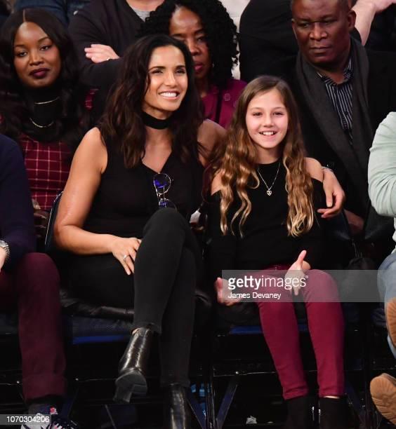 Padma Lakshmi and Krishna LakshmiDell attend Brooklyn Nets v New York Knicks game at Madison Square Garden on December 8 2018 in New York City