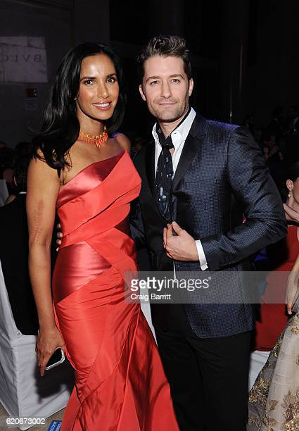 Padma Lakshmi and Matthew Morrison attend the Elton John AIDS Foundation's 15th Annual An Enduring Vision Benefit with cocktails by Clase Azul...