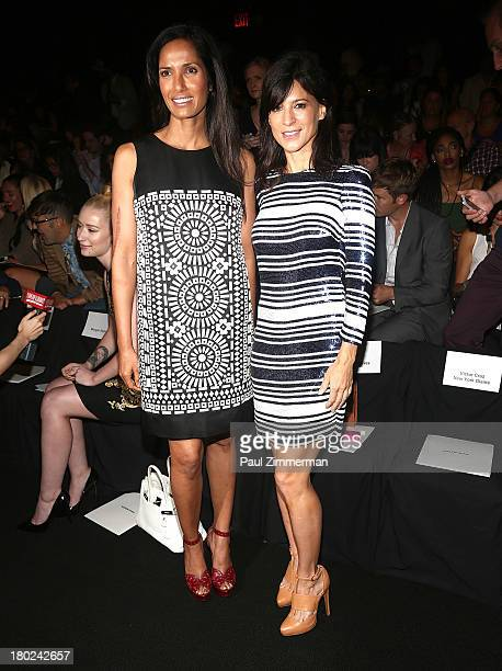 Padma Lakshmi and Perrey Reeves attend the Naeem Khan show during Spring 2014 Mercedes-Benz Fashion Week at The Theatre at Lincoln Center on...