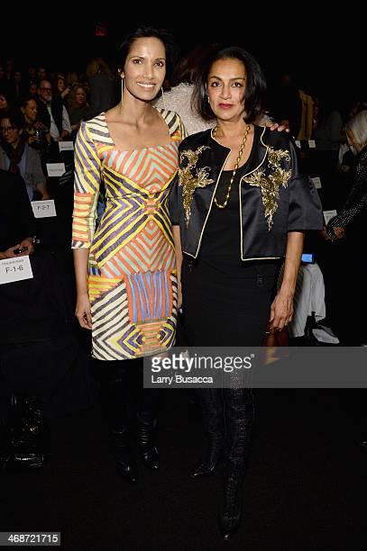 Padma Lakshmi and Ranjana Khan attend the Naeem Khan fashion show during MercedesBenz Fashion Week Fall 2014 at The Theatre at Lincoln Center on...