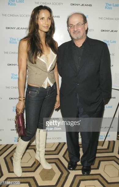 Padma Lakshmi and Salman Rushdie at The Cinema Society and DKNY Jeans Special Screening of 'The Last Kiss'