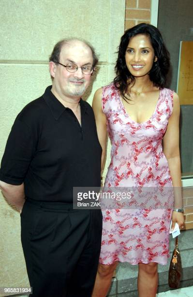 Padma Lakshmi and Salman Rushdie at THE WEEK Magazine hosts Premiere of The Hunting of the President at Skirball Center for the Performing Arts