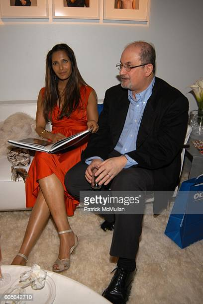 Padma Lakshmi and Salman Rushdie attend OLYMPUS PHOTO STUDIO at Bryant Park on February 3 2006 in New York City