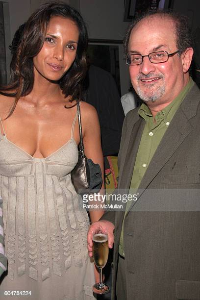 Padma Lakshmi and Salman Rushdie attend TEMPERLEY LONDON After Party hosted by Moet Chandon at Alice Temperley Showroom on September 14 2006 in New...