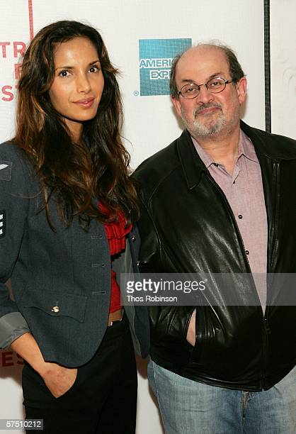Padma Lakshmi and Salman Rushdie attend the premiere of Colour Me Kubrick during the 5th Annual Tribeca Film Festival May 1 2006 in New York City