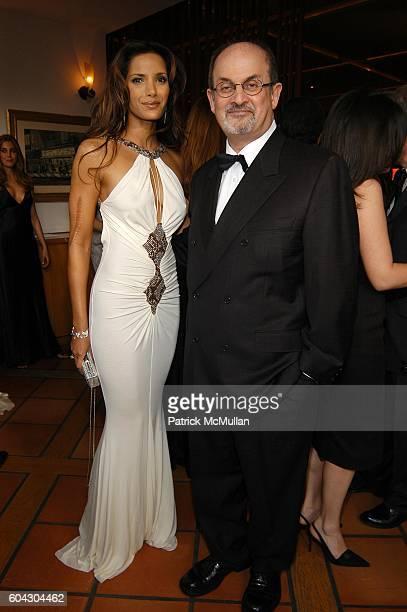 Padma Lakshmi and Salman Rushdie attend Vanity Fair Oscar Party at Morton's Restaurant on March 5 2006