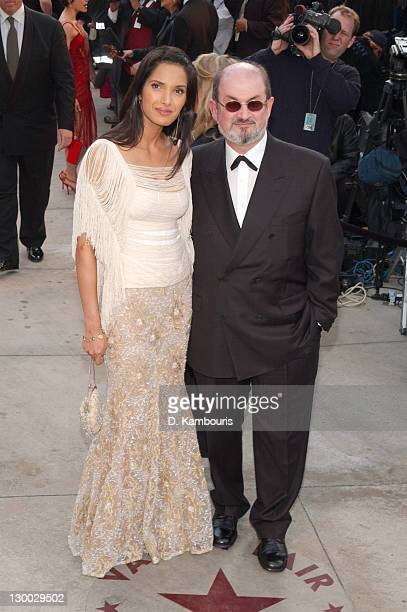 Padma Lakshmi and Salman Rushdie during 2002 Vanity Fair Oscar Party Hosted by Graydon Carter Arrivals at Morton's Restaurant in Beverly Hills...