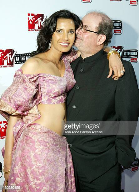 Padma Lakshmi and Salman Rushdie during 2004 Cannes Film Festival MTV At The Movies Party