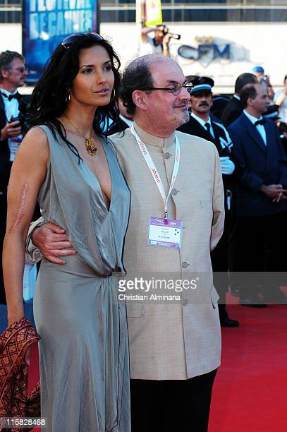 Padma Lakshmi and Salman Rushdie during 2004 Cannes Film Festival Comme Une Image Premiere at Palis Du Festival in Cannes France France
