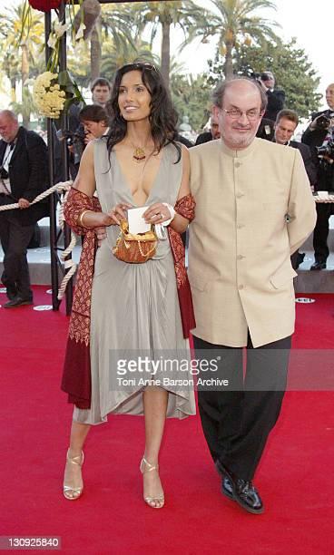 Padma Lakshmi and Salman Rushdie during 2004 Cannes Film Festival Comme Une Image Premiere at Palis Du Festival in Cannes France