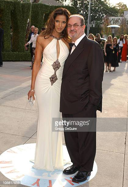 Padma Lakshmi and Salman Rushdie during 2006 Vanity Fair Oscar Party Hosted by Graydon Carter Arrivals at Morton's in West Hollywood California...