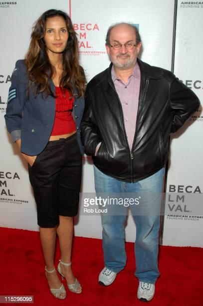 Padma Lakshmi and Salman Rushdie during 5th Annual Tribeca Film Festival Colour Me Kubrick Screening at Tribeca Performing Arts Center in New York...