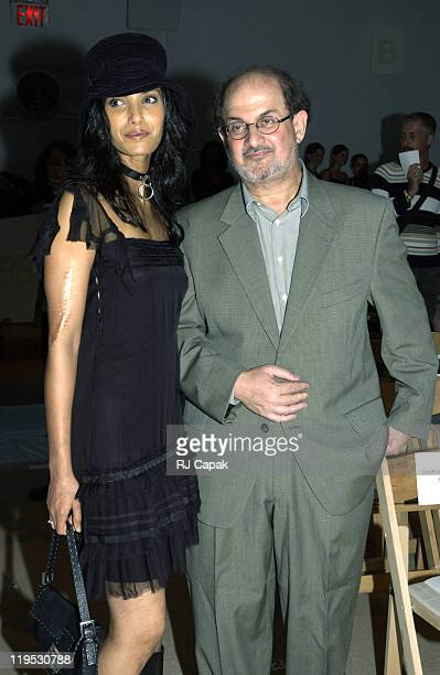 Padma Lakshmi and Salman Rushdie during MercedesBenz Fashion Week Spring 2004 Zang Toi Front Row at Josephine Tent Bryant Park in New York City New...