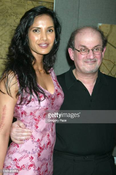 Padma Lakshmi and Salman Rushdie during The Hunting of the President New York Premiere at Skirball Center for the Performing Arts at New York...