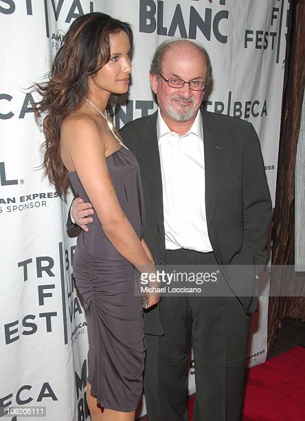 Padma Lakshmi and Salman Rushdie during The Montblanc De La Culture Awards at Angel Orensanz Foundation Center for the Arts in New York City New York...