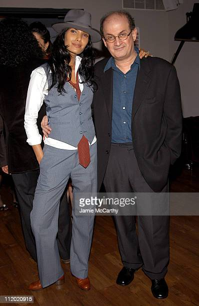 Padma Lakshmi and Salman Rushdie during YSL and Jude Law Host a Grand Classics Evening in Honor of Cinema and 'Alfie' at Soho House in New York City...
