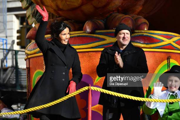 Padma Lakshmi and Tom Colicchio ride in the 91st Annual Macy's Thanksgiving Day Parade on November 23 2017 in New York City