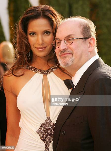 Padma Lakshmi and writer Salman Rushdie arrive at the Vanity Fair Oscar Party at Mortons on March 5 2006 in West Hollywood California