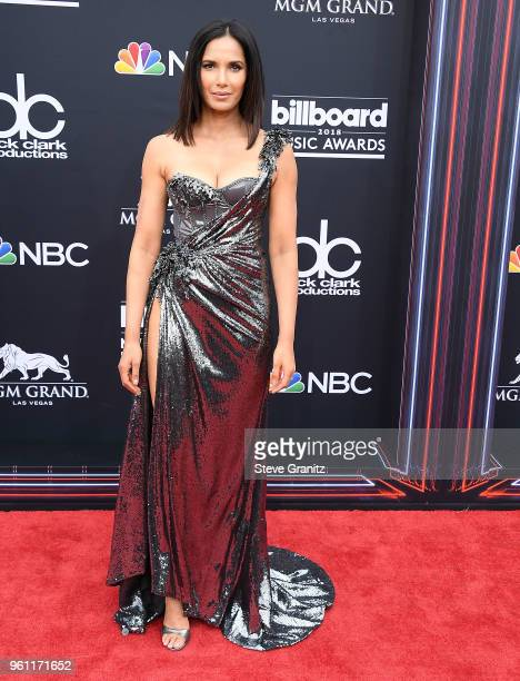 Padma Lakshmi arrives at the 2018 Billboard Music Awards at MGM Grand Garden Arena on May 20 2018 in Las Vegas Nevada